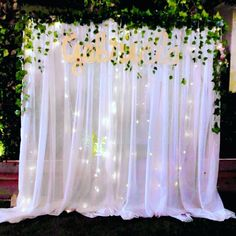 Simple curtain with artificial leaves and lamp Birthday Room Decorations, Dance Decorations, Wedding Shower Decorations, Prom Decor, Diy Wedding Backdrop, Engagement Decorations, Wedding Themes, Flower Decorations, Tulle Backdrop