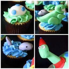 Dinosaur Cupcakes and Cake by RoseBakes... see more pics here: http://rosebakes.com/dinosaur-birthday-cake-cupcakes-party/