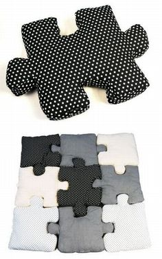 DIY Puzzle pillows....wow!   How cool would this be as a different pattern for a child's sleepover party?  The pillows could be the favors!!!!