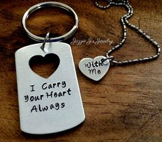 I Carry Your Heart With Me Always Hand Stamped Necklace/Keychain Set, His and Hers Gift Set, Couples Gift, Anniversary, Military Deployment by JazzieJsJewelry on Etsy
