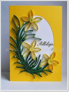 quilling daffodils in the egg Paper Quilling Patterns, Quilled Paper Art, Quilling Designs, Quilling Work, Quilling Paper Craft, Paper Crafts, Greeting Card Holder, Origami, Quilling Techniques