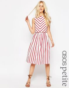 Image 1 ofASOS PETITE Stripe Picnic Dress with Double Layer