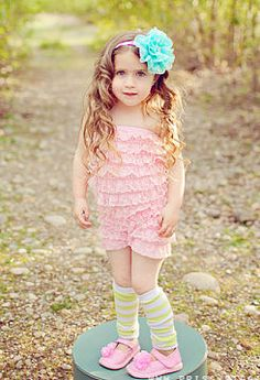 Light pink vintage couture romper & contrasting teal headband...So Cute!!!