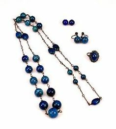 Rhoda Wager (attrib). Silver and lapis lazuli necklace, earrings and ring suite, plus two spare beads.
