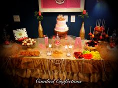 Princess themed dessert buffet for babyshower by candied confections.  Www.candiedconfections.com