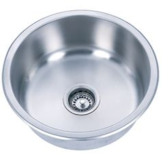 Round Undermount Stainless Steel Single-bowl Sink. For use as kitchen work/bar sink.