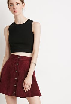 Contemporary Buttoned Suede Skirt | Forever 21 - 2000116977