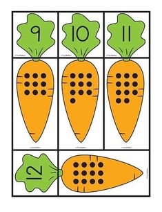 Carrot Cards: matching sets and numbers, Lesson Plans - The Mailbox Kindergarten Anchor Charts, Kindergarten Math Worksheets, Preschool Math, Teaching Math, Toddler Learning Activities, Preschool Activities, Alphabet Letter Crafts, Preschool Garden, Learning Numbers