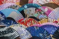 Colourful fans on display at teapot lane;Kyoto japan