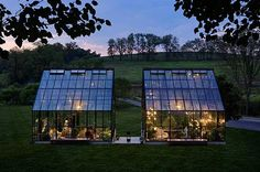 "Turning a greenhouse into a luxury living space: ""The Farm"" is tucked away on 150 acres of lush, misty fields."