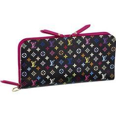 Louis Vuitton Monogram Multicolore Insolite Wallet in Noir, Pink interior