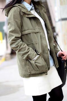 Utility Jacket I want one soo bad! Cargo Jacket, Knit Jacket, Utility Jacket, Cool Outfits, Fashionable Outfits, Fashion Outfits, Zara Parka, Elle Blogs, Preppy Southern