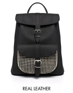 Grafea+Black+Backpack+with+Contrast+Houndstooth