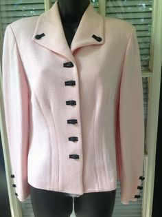St John Collection Blazer by Marie Gray Sz 6 Pink Knit #StJohn #Blazer
