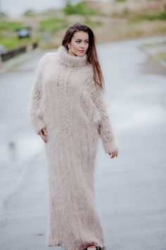 Tiffy Mohair Hand Knitted T neck Sweater Dress by TiffysMohair