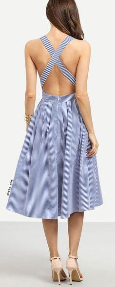 dcbe8c929639 Blue Striped Sleeveless Criss Cross Back Dress Casual Dresses