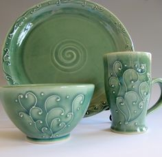 Porcelain Dinnerware Set by PotterybyLisa on Etsy, $75.00