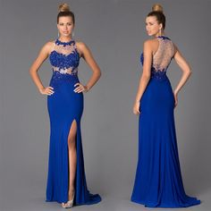Long Royal Blue Lace Beaded Mermaid Prom Dresses Evening Party Gown