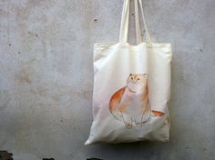 Cat canvas tote bag  hand painted in cotton  fabric  by vumap, $30.00