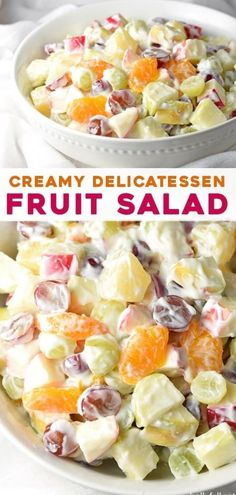 This Creamy Delicatessen Fruit Salad is a creamy and luscious fruit salad reminiscent of the kind from your local delicatessen, but made at home! It's a super easy recipe and perfect for summer, potlucks, holiday gatherings, or a light dessert!