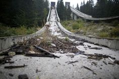 A view of the disused ski jump from the Sarajevo 1984 Winter Olympics on Mount Igman