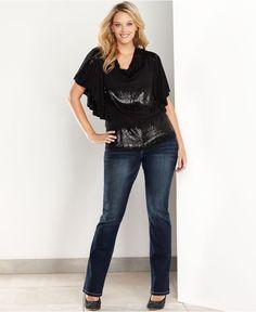 INC International Concepts Plus Size Short Flutter Sleeve Sequin Top & Bootcut Jeans