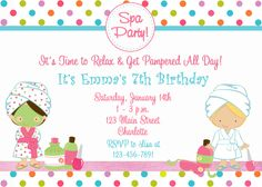 Blank Spa Party Invitations spa birthday party invitation spa party spa by thebutterflypress