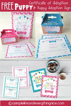 Free Puppy Adoption Certificate and Adopt a Puppy Printable Sign Dogs free puppies Dog Themed Parties, Puppy Birthday Parties, Puppy Party, Dog Birthday, Animal Birthday, Cat Party, Birthday Ideas, Princess Birthday, Party Animals