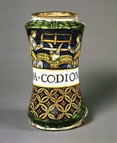 #Maiolica  --  Pharmacy Jar (albarello)  --  Circa 1505-10  --  Italian  --  Metropolitan Museum of Art