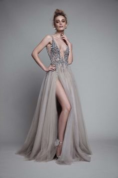 New Sexy Gray Paolo Sebastian Prom Dresses 2018 Deep V Neck Sequins Crystal High Split Backless Long Evening Gowns Prom Party Dress Custom Evening Dresses For Weddings, Prom Dresses, Formal Dresses, Dress Prom, Wedding Gowns, Tulle Dress, Dress Long, Gown Dress, Goddess Prom Dress