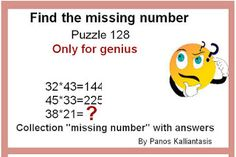 Brain teasers and puzzles: Puzzle 128-By Panos Kalliantasis Missing Number, Number Puzzles, Brain Teasers, This Or That Questions, Collection, Mind Games