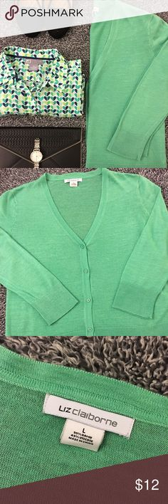 Mint green sweater - Light & perfect for spring This lightweight sweater has hardly been worn. Great for layering this coming spring! Versatile and can be worn as a dressy or casual piece. Not sure what the material content is since that tag has been removed. Gently used and from a smoke free home! Measurements as follows: Bust- 21 in laid flat. Hips- 20. Length- just about 24 inches. Have questions? Feel free to ask! Offers and bundles are welcomed! Thank you for looking! Liz Claiborne…