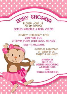 Monkey baby shower invitation girl lucky bean pinterest monkey baby shower invitation 5x7 printable by photogreetings filmwisefo