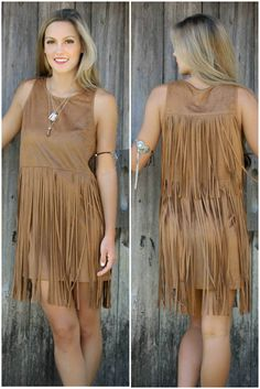 Shades of Suede Camel Sleeveless Suede Dress With Layered Fringe