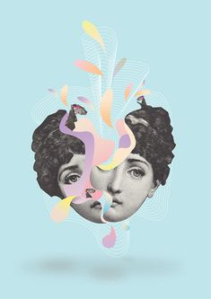 DIGITAL COLLAGE on Behance the colours on this are nice. like the black and white/ pastels contrast Face Collage, Collage Portrait, Collage Art, Poster Collage, Collage Ideas, Graphic Design Posters, Graphic Design Inspiration, Graphic Art, Digital Art Photography