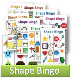 Free printable shape bingo cool math games for toddler, preschool, kindergarten, first grade