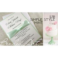 Miętowe zaproszenia ślubne Simple Mint