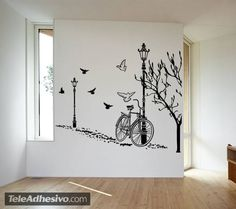 Wandtattoos: Autumn Bike Creative Wall Painting, Wall Painting Decor, Creative Walls, Jack Sparrow Tattoos, Craft Room Organisation, House Sketch Design, Apartment Bedroom Decor, Wall Drawing, Colorful Wallpaper