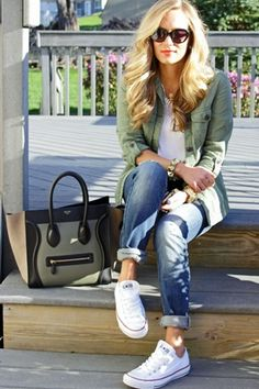 Casual winter fashion outfits, look fashion, autumn winter fashion, womens fashion, denim Fall Winter Outfits, Autumn Winter Fashion, Spring Outfits, Outfits 2016, Spring Fashion, Winter Shorts, Ootd Spring, Winter Dresses, Converse Style