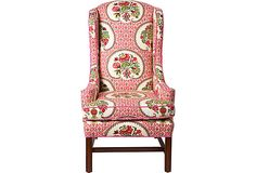 Indian-Style Wingback Chair / Vintage