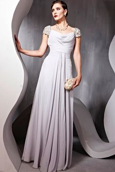 Grey Short Sleeved Chiffon Beaded Long Maxi Prom Bridesmaid Ball Dress