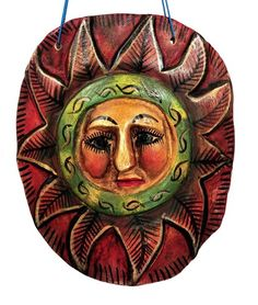 Hand Carved Painted Sun Face from Mexico