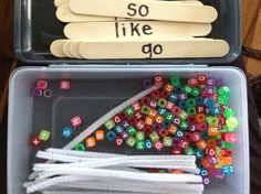 Sight Word Dice – Miss Kindergarten Sight Word building with letter beads. Write the words on jumbo craft sticks, then provide kids with a letter bead box and pipe cleaners. Teaching Sight Words, Sight Word Practice, Sight Word Activities, Literacy Activities, Sight Word Centers, Spelling Practice, Spelling Centers, Spelling Ideas, Teaching Letters