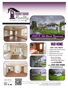 Real Estate For Sale: $150,000-2 Bedroom, 1 Bath, 960 SF One Level Hudsons Bay HUD Bungalow Home with Full Basement on .11 Acre Lot in Vancouver, WA! Thanks for sharing Julie Baldino, Front Door Realty, Vancouver, WA!  #RealEstate #ForSaleRealEstate #RealEstateForSale #VancouverRealEstate #RealEstateVancouver #HUDHome #Bungalow #FullBasement #HudsonsBay #JulieBaldino #FrontDoorRealty