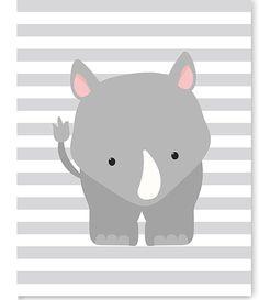 Rhino Nursery Art, Zoo Nursery Decor, Nursery Wall Art, Zoo Wall Art, Rhino Canvas, Baby Room Decor, Gender Neutral, Zoo Canvas Art, Shower