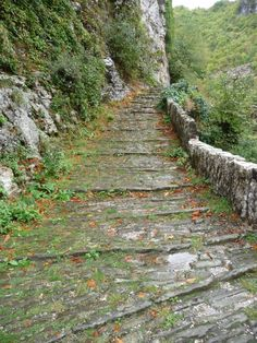 Hiking path in Zagoria Seasons In The Sun, Greek Islands, Pathways, More Photos, Bridges, Roads, Greece, Trail, Sidewalk