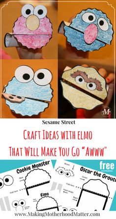 See The Free Printables For The Sesame Street Craft Ideas With Elmo That Will Make You Go Awww Perfect For Sesame Street Birthday Parties, Craft Ideas, Or Puppet Shows Toddlers And Preschoolers Will Adore. Visit To Grab Yours. Via Amyatmmm Sensory Activities Toddlers, Craft Activities For Kids, Toddler Preschool, Toddler Crafts, Preschool Crafts, Diy Crafts For Kids, Craft Ideas, Children Crafts, Healthy Crafts For Preschool