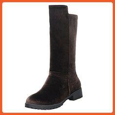 Women Classic Flat Heel Slip on Riding Mid Half Boots