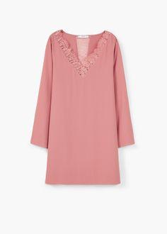 Lace panel dress | MANGO