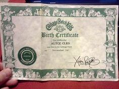 Image result for cabbage patch birth certificate template image result for cabbage patch birth certificate template yadclub Choice Image
